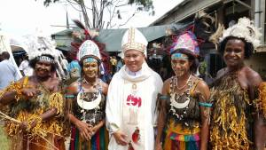 1 Bishop Peter flanked by a few dancers
