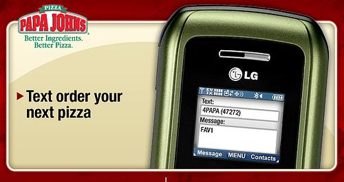 Papa John's SMS ordering