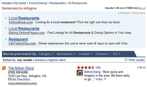 Irrelevant ads on Yahoo! Local