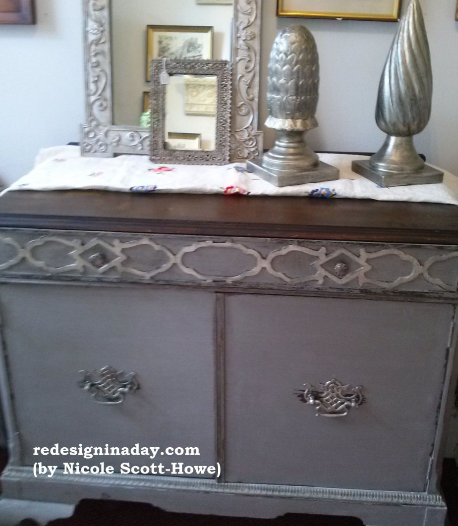 Pittsburgh Gray Antique Cabinet (SOLD)
