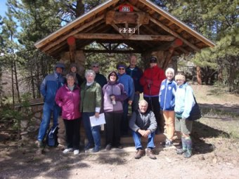 RF Historic Walking Tour at first well in Red Feather Lakes on a windy day in Red Feather.
