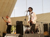 The 45s on the main stage in the afternoon - looking dapper in matching monochrome shirts and ties