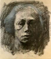 "Kollwitz, Käthe Graphic artist and sculptress, Königsberg 8.7.1867 – Moritzburg near Dresden 22.4.1945. ""Self-portrait en face"", 1911. Drawing."