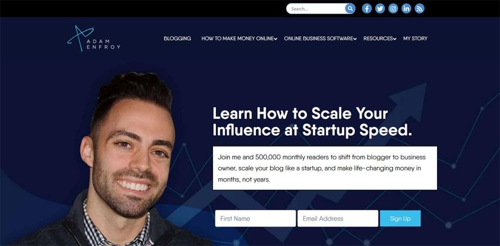 How Much Do Bloggers Earn? Adam Enfroy Blog Screenshot