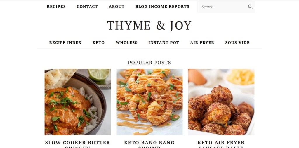 How Much Do Bloggers Earn? Thyme & Joy Blog Screenshot