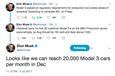 Eleon musk tweets tesla model 3 production