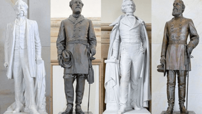 These statues of Confederate Gen. Wade Hampton III, Gen. Robert E. Lee, secession-promoter John C. Calhoun, and Gen. Edmund Kirby Smith are among the 100 that stand in places of honor in the nation's Capitol.