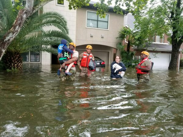 Hurricane Harvey flooding texas rescue by Texas military Department