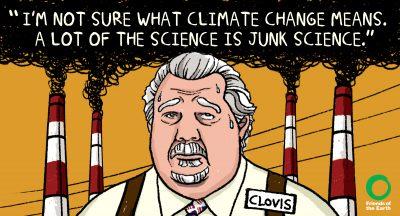 sam clovis cartoon by friends of the earth