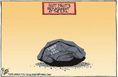Bruce Plante Cartoon: Scott Pruitt's replacement, EPA, Environmental Protection Agency, President Donald J. Trump, The Swamp, Plante 20180706