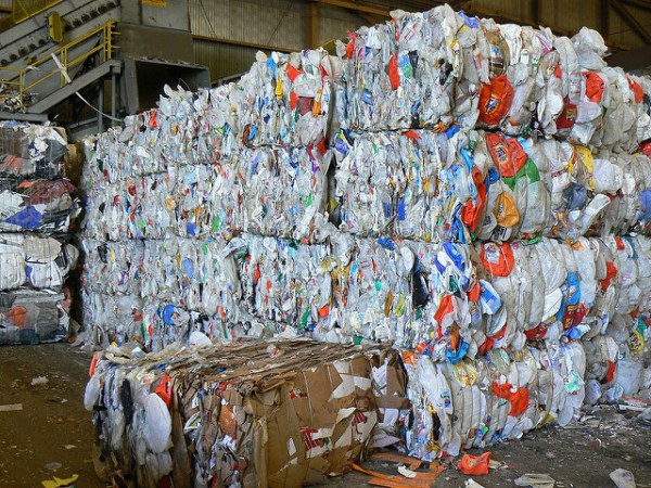 Bales of plastic recycling