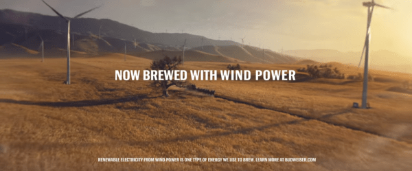 wind energy and renewable energy take center state in Budweiser's super bowl ad
