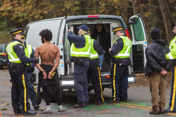 Arrests at pipeline protest against Kinder Morgan.