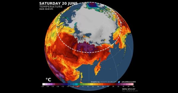 A graphic shows record heat in the Arctic Circle on Saturday, June 20, 2020. (Image: Screengrab\@ScottDuncanWX)