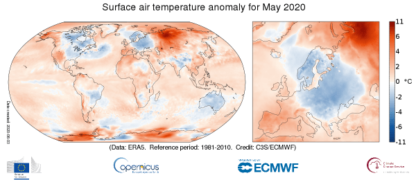 Surface air temperature anomaly for May 2020 relative to the May average for the period 1981-2010. Data source: ERA5. Credit: Copernicus Climate Change Service/ECMWF.
