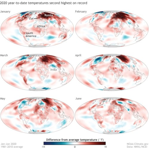 Global temperatures  2020 to data second hottest on record global warming climate change