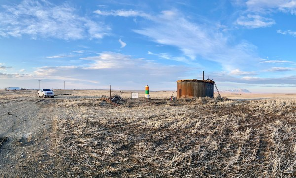 Big West Anderson #3, a 96-year-old well in Toole County, Montana, was plugged in late April. PHOTO FROM WELL DONE FOUNDATION