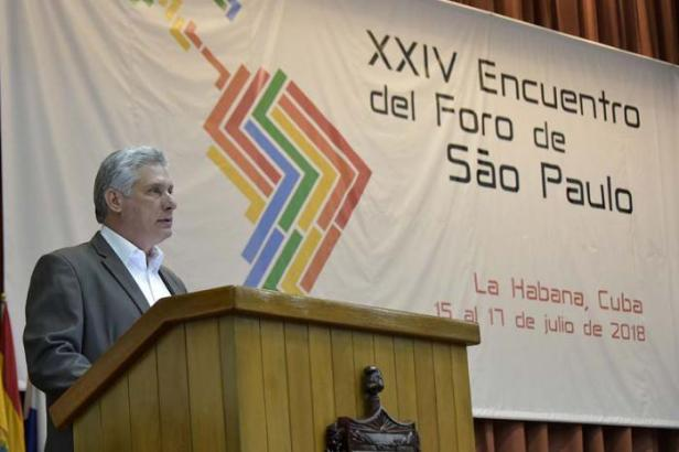 Miguel M. Díaz-Canel Bermúdez, Presidente de los Consejos de Estado y de Ministros, en la plenaria especial sobre el pensamiento de Fidel, durante el XXIV Encuentro del Foro de Sao Paulo