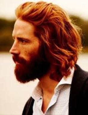 dark red hair and beard