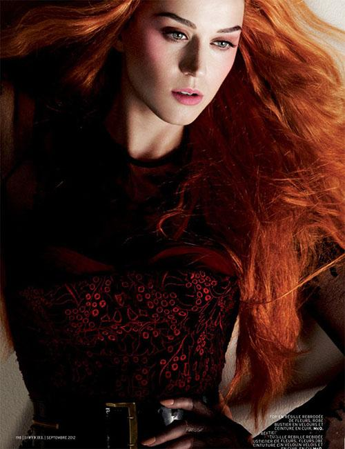 Katy Perry flaming red hair color