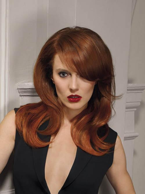 Hairstyle with different auburn tones