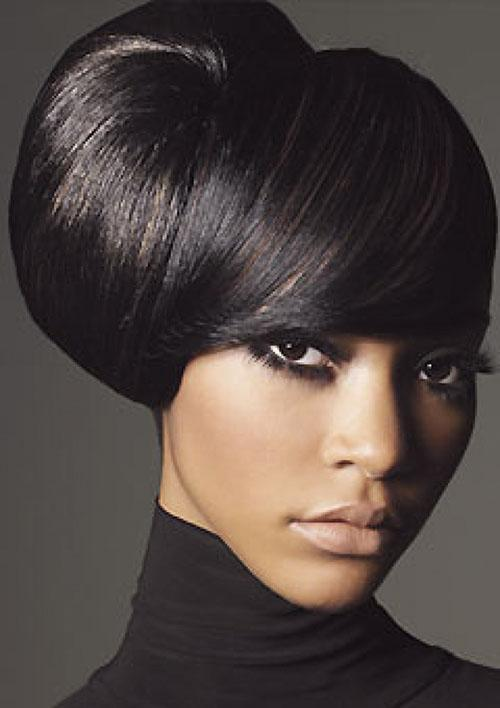 Black hairstyle with side bun