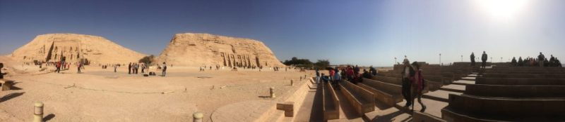 panorama view of abu simbel temple and temple of hathor