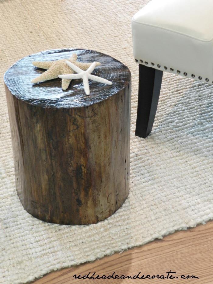 DIY Stump Turned End Table