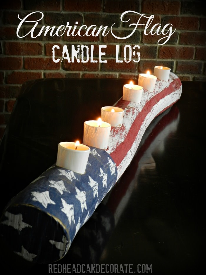 Almost Free American Flag Candle Log Tutorial
