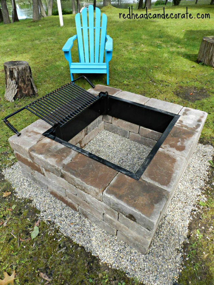 Easy DIY Fire Pit Kit with Grill - Redhead Can Decorate on Diy Outdoor Fire  id=53176