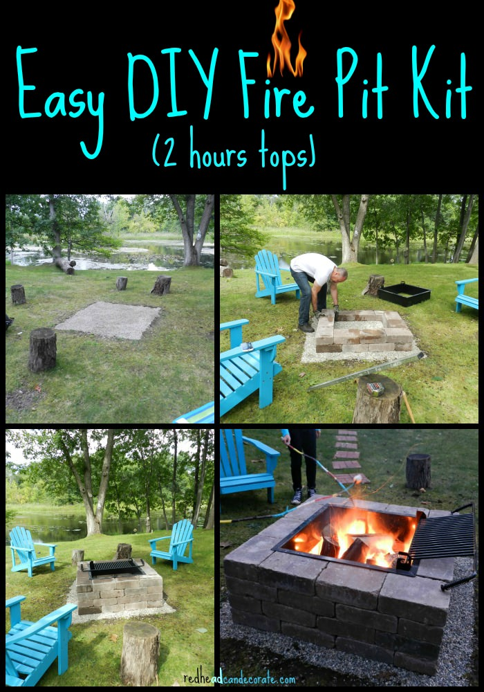 Easy diy fire pit kit with grill redhead can decorate very easy and fast fire pit kit with grill idea from redheadcandecorate solutioingenieria Image collections
