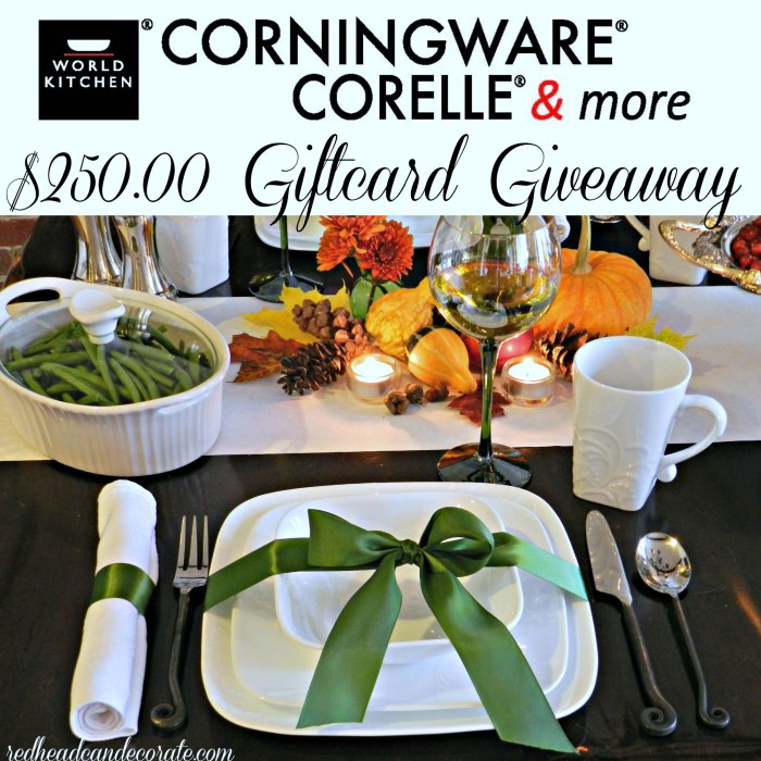 Corelle & CorningWare Thansgiving Table