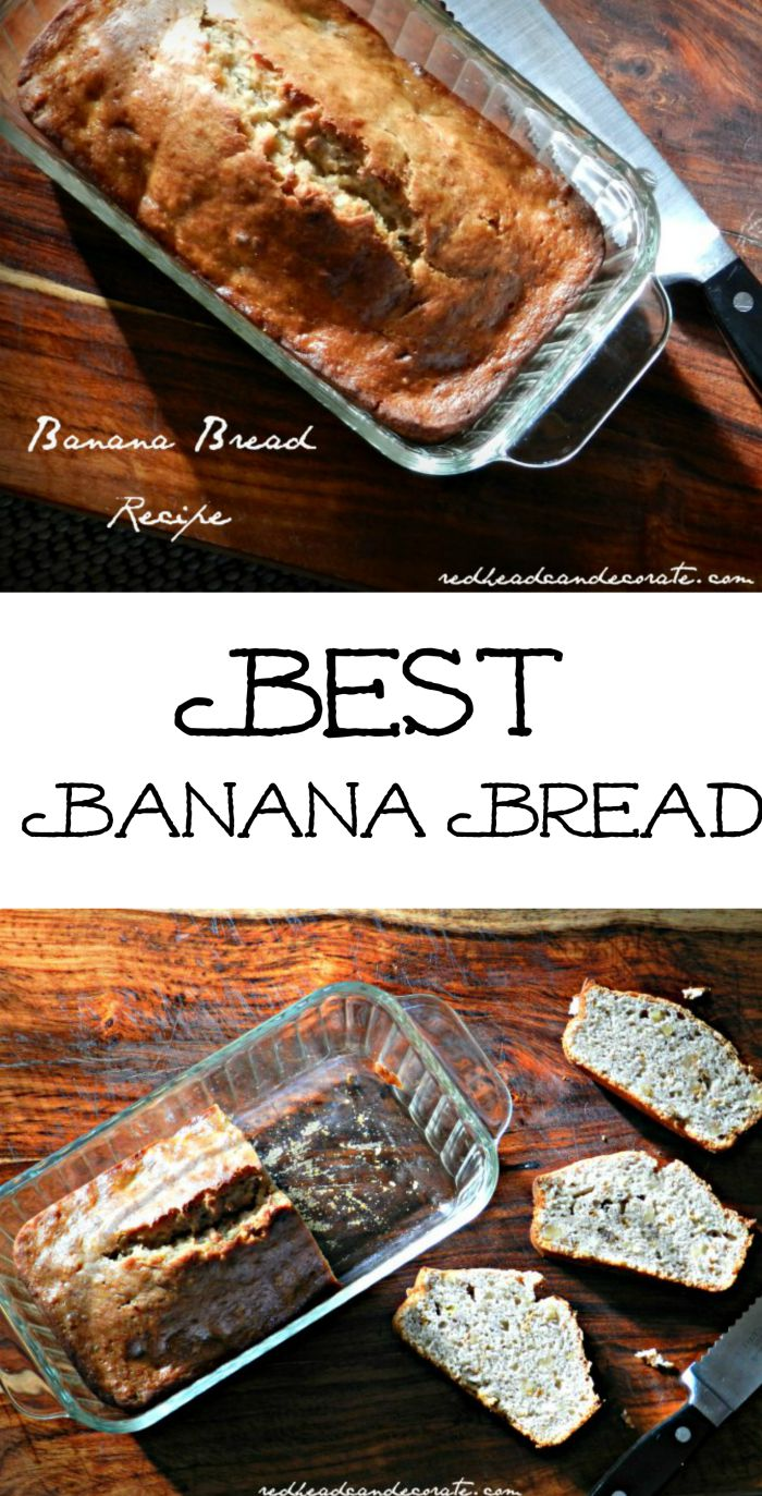 Moist Banana Bread, with just the right sweetness, and this recipe makes 2 loaves quick. You'll need 4 very ripe bananas!