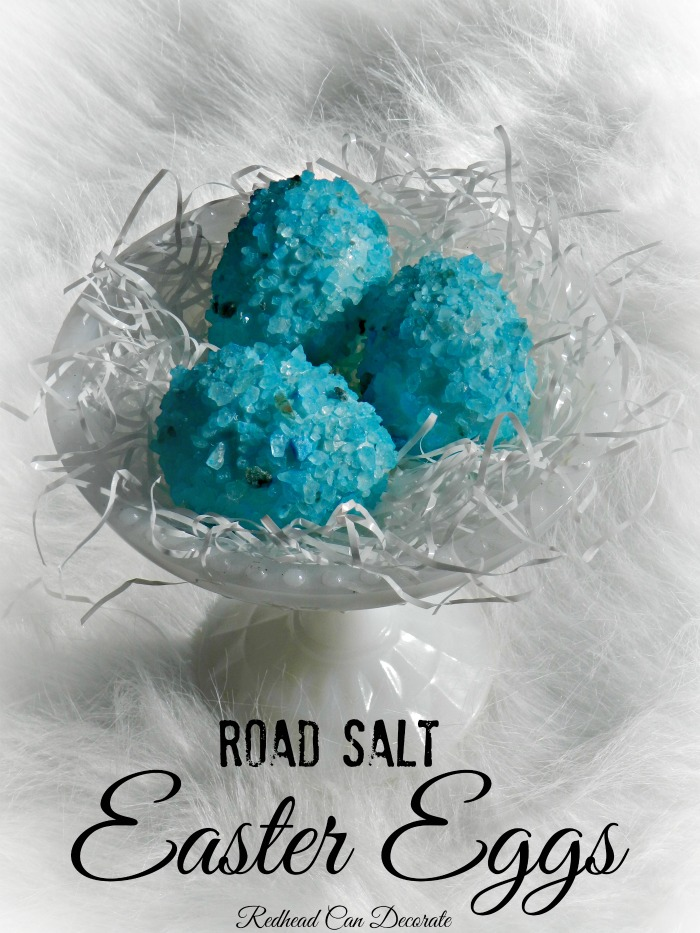 How to make beautiful Easter eggs w. blue road salt.