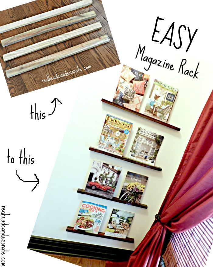 Make an easy magazine rack with spare wood and screws.