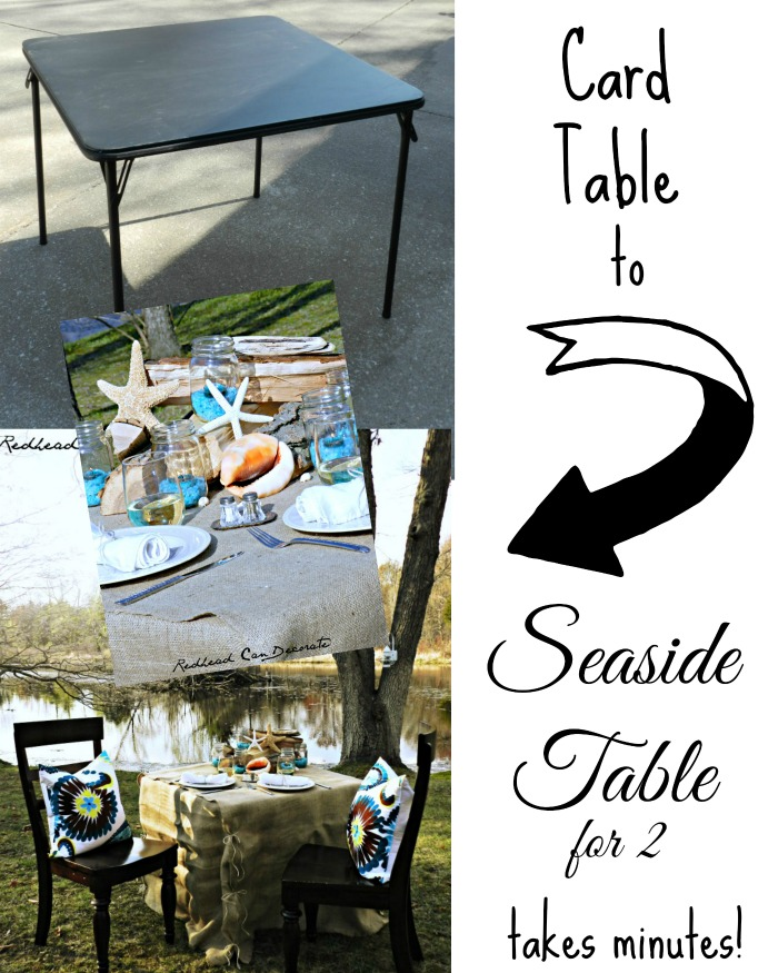 How to transform a card table into a rustic elegant seaside table for 2!  Even if you don't have a seaside!