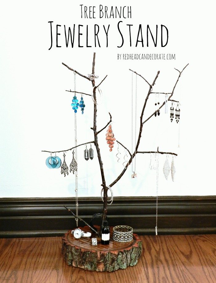 DIY Tree Branch Jewelry Stand
