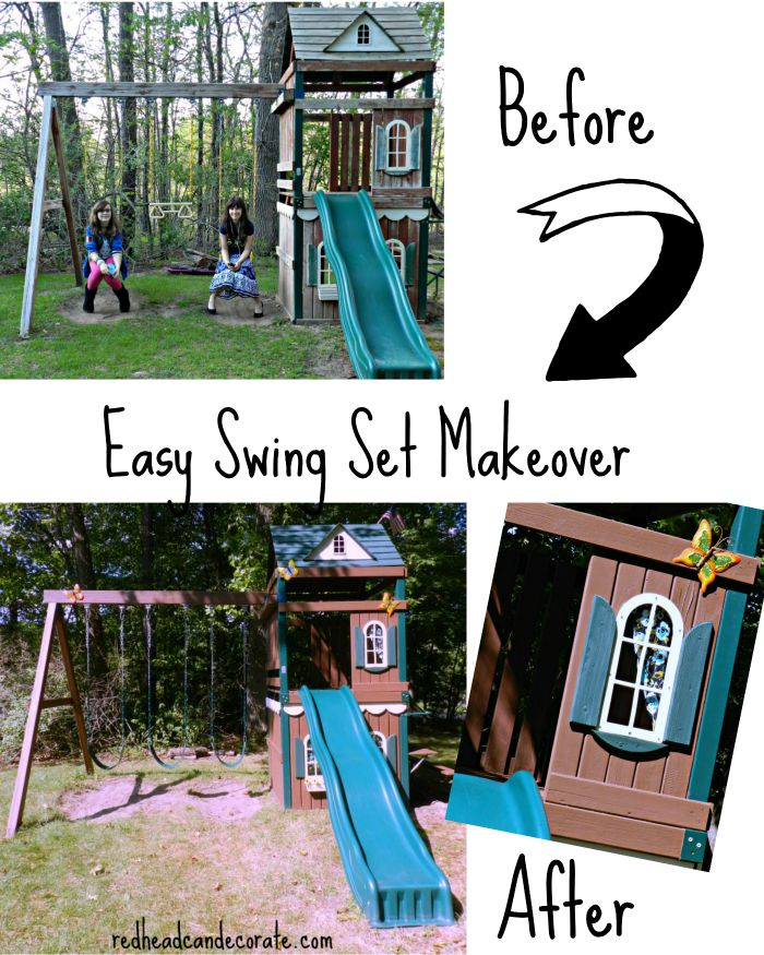 Swing Set Makeover Redhead Can Decorate