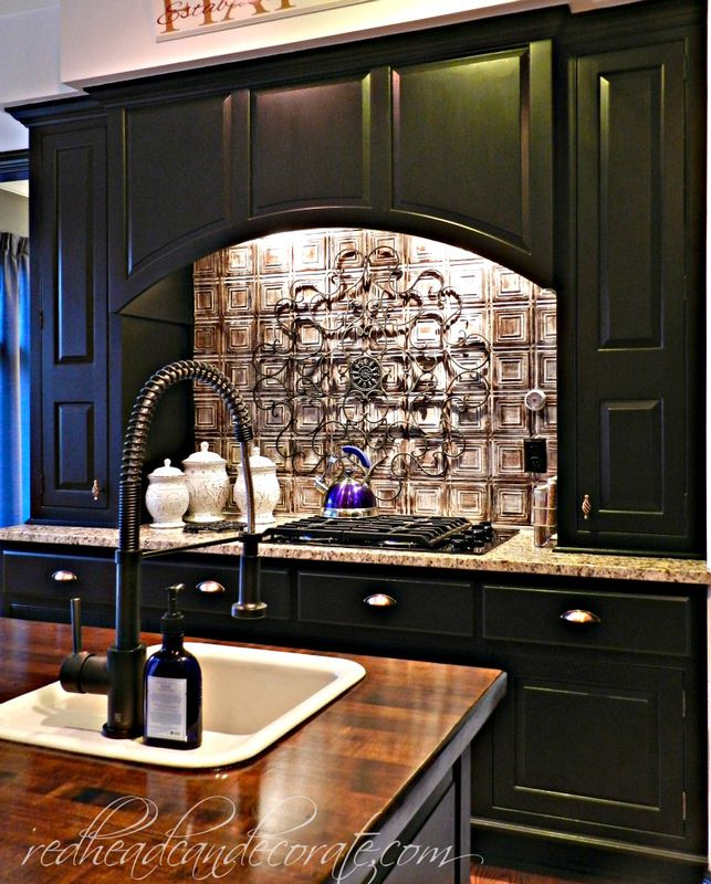 Kitchen Backsplash With Black Cabinets: Redhead Can Decorate