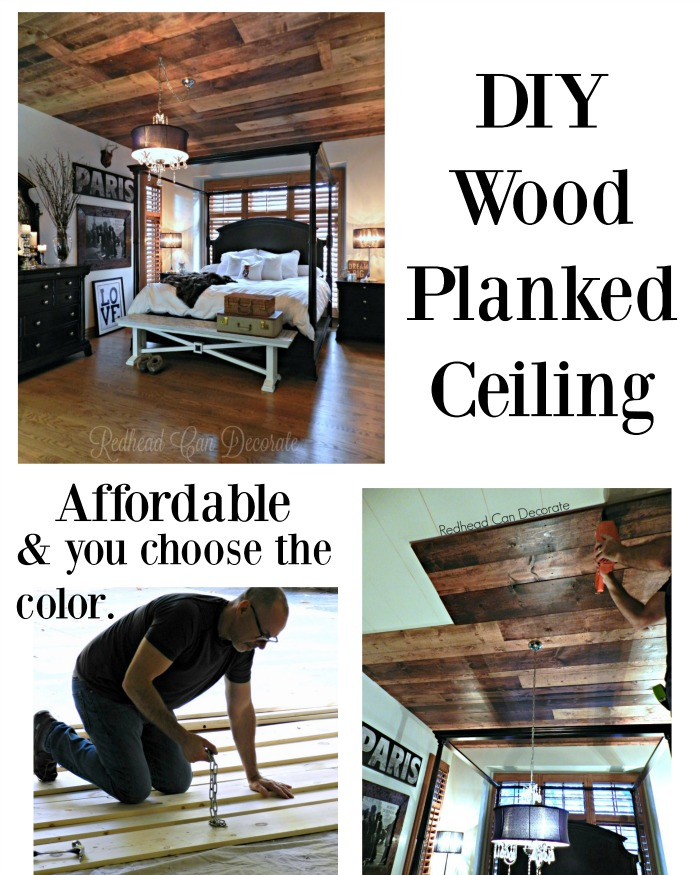 DIY Stained Wood Planked Ceiling