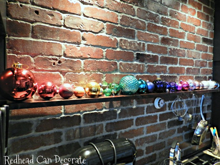 What a fantastic way to use bulbs you already have...just create a Christmas ombre rainbow on a shelf or window sill!