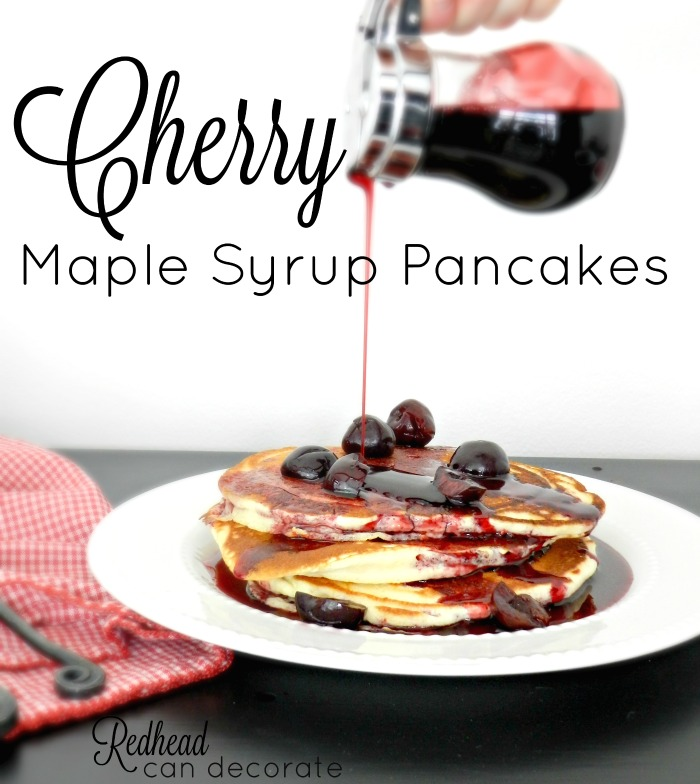 Cherry Maple Syrup Pancakes