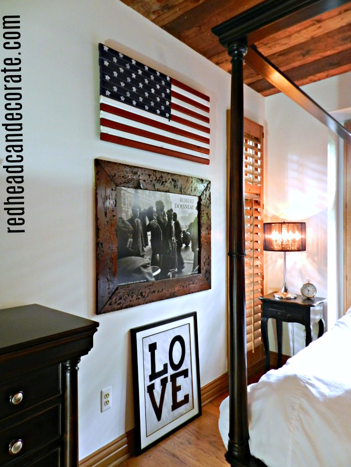 Patriotic Master Bedroom: Displaying the American flag all year long is such a beautiful decorating idea. She also includes a list of sources!