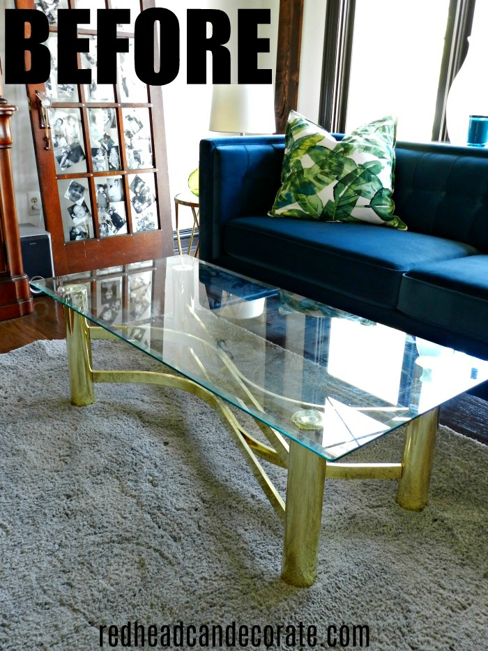 Thrifty Vintage Brass Glass Coffee Table