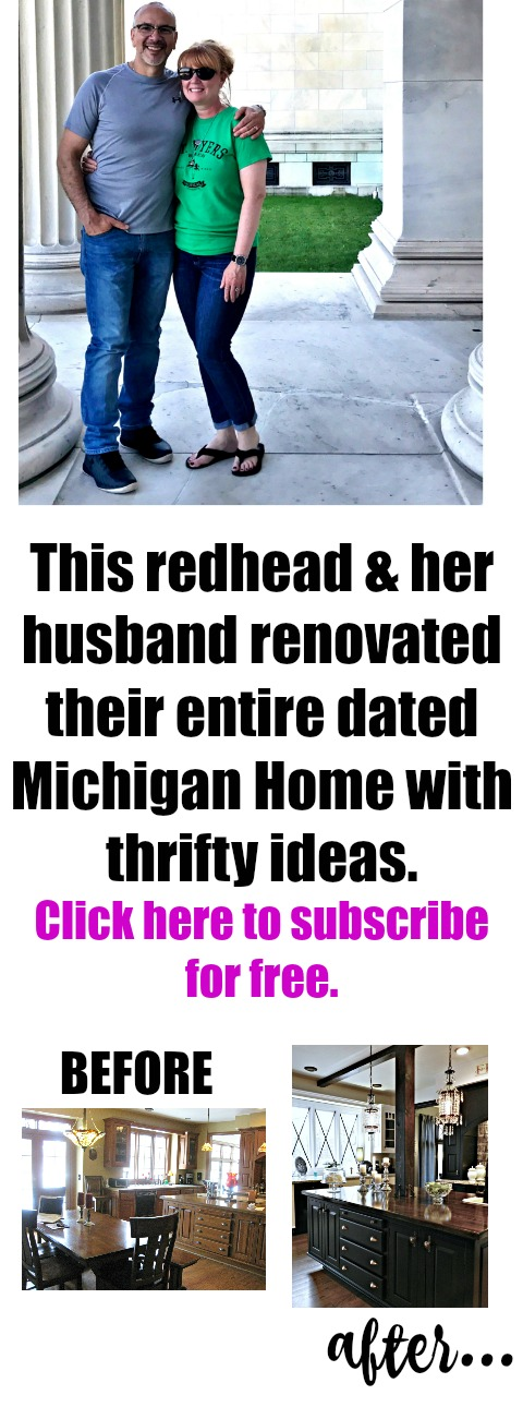 This redhead (from the blog redheadcandecorate.com) & her husband renovated their entire dated Michigan home with thrifty ideas. Click over to subscribe for free!