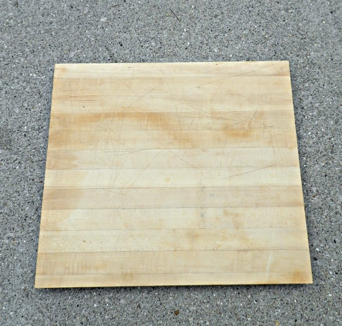 """Very cute DIY """"Cheese & Apple Butcher Block Tray"""" made with rustic handles in a few minutes! You could do this with any cutting board."""