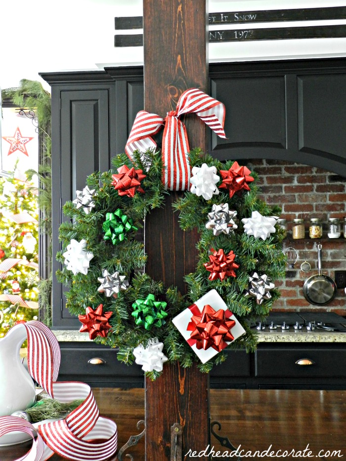This is such a cute gift bow wreath idea! I would have never thought of this!