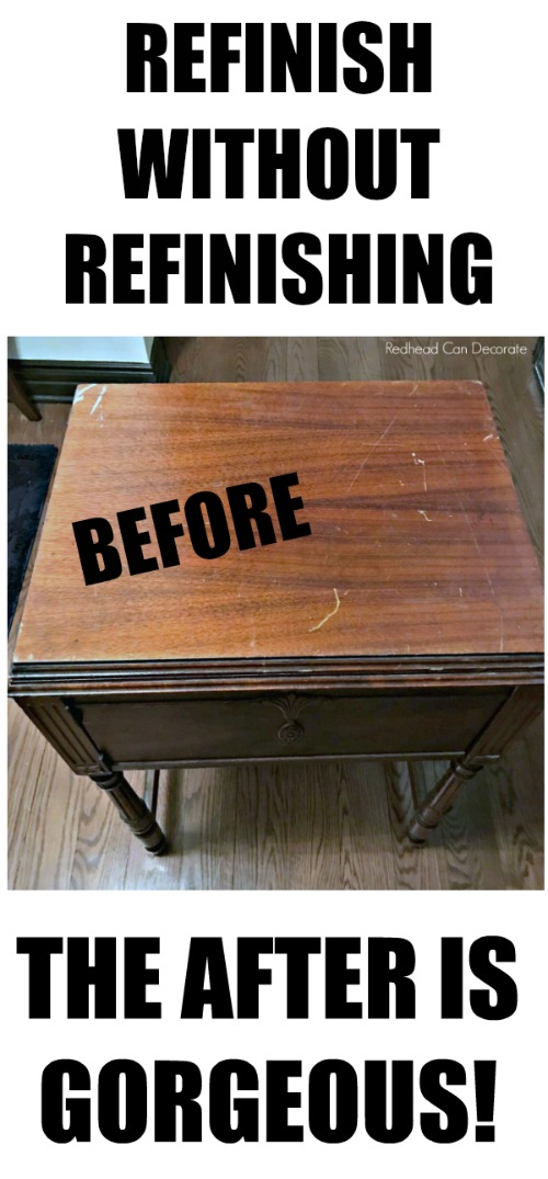 Check out this Vintage Sewing Machine Table Makeover without Refinishing/Painting! She used 3 very inexpensive products and it looks brand new!