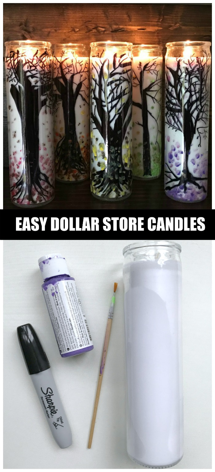 Create gorgeous Dollar Store Fall Candles using this simple technique with supplies you probably already have such as permanent marker and acrylic paint.
