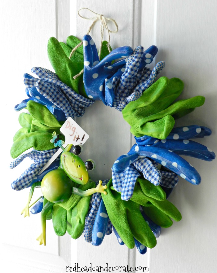 The Garden Glove Spring Wreath is so cute and only cost $11 dollars to make with dollar store supplies!